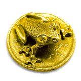 Фигура кошельковая металл Лягушка на монете золотая