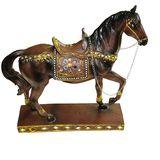 Лошадь инкрустация фигура из полистоуна 30*28*8 см