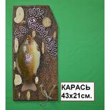 Панно Рыба муляж с держателем Ну за рыбалку (Карась) 43*21 см